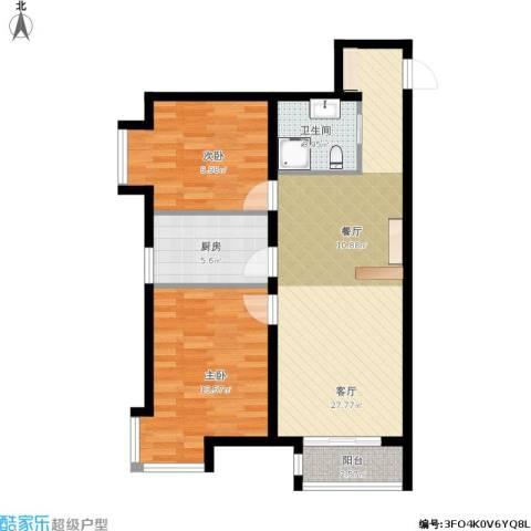 新兴中山八号2室1厅1卫1厨91.00㎡户型图