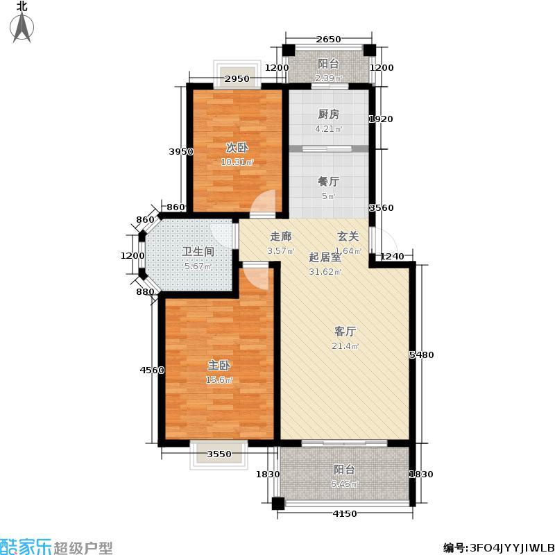 双湖明珠93.00㎡一期11、58、59号楼标准层M户型