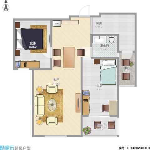 水木清华2室1厅1卫1厨77.00㎡户型图