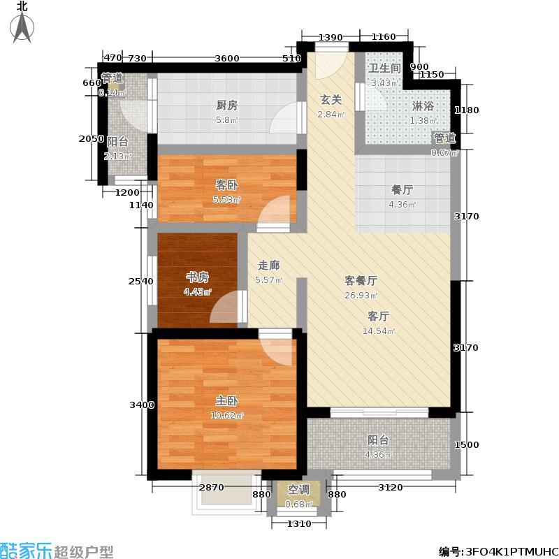 华业东方玫瑰90.00㎡D3号楼02户型2室2厅