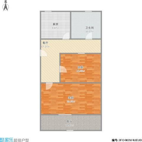 广中一村2室1厅1卫1厨116.00㎡户型图