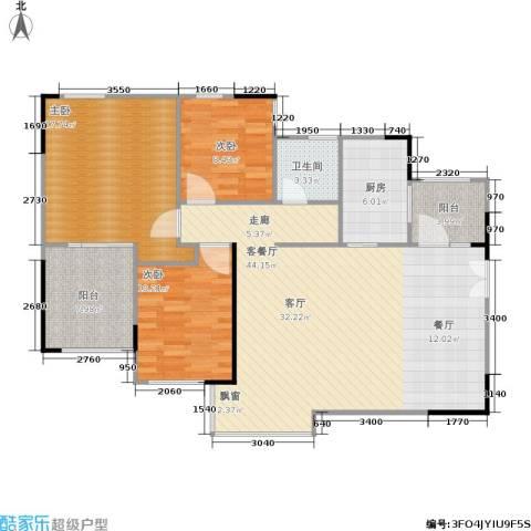 万科蓝山3室1厅1卫1厨109.00㎡户型图