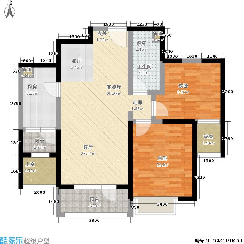 华业东方玫瑰88.00㎡瑞祥阁D5-04户型2室2厅
