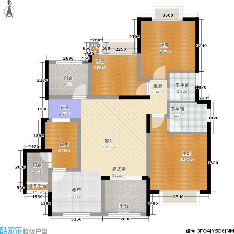 中铁山水时光102.74㎡一期洋房E6栋标准层A4-6户型