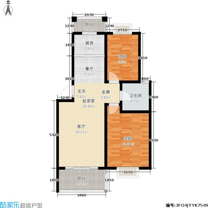 双湖明珠65.82㎡一期9号楼标准层B2户型