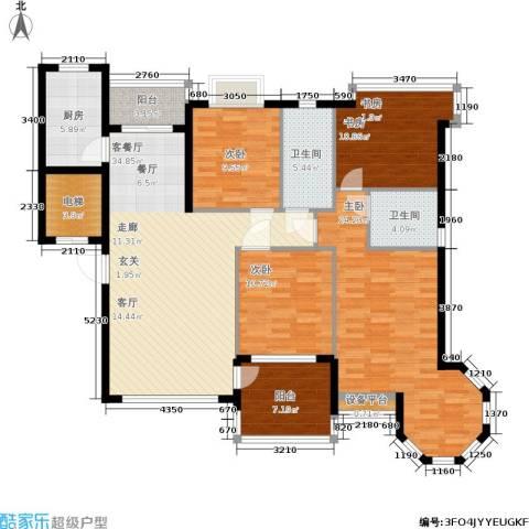 恒大金碧天下4室1厅2卫1厨136.00㎡户型图