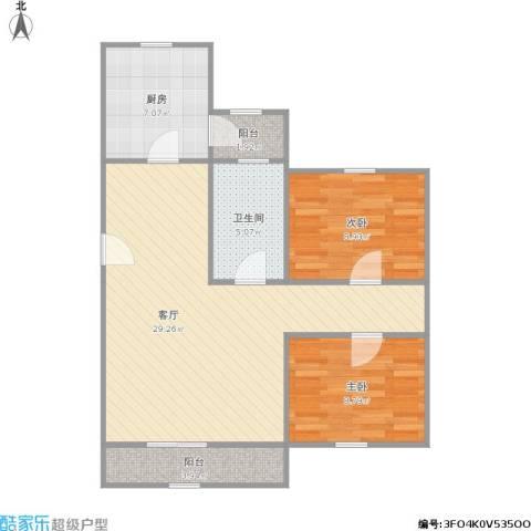 宝业馨康苑二期2室1厅1卫1厨88.00㎡户型图