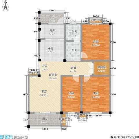 金湖家园3室0厅2卫1厨116.00㎡户型图