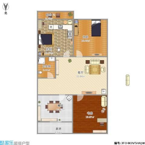 新新家园3室2厅1卫1厨160.00㎡户型图