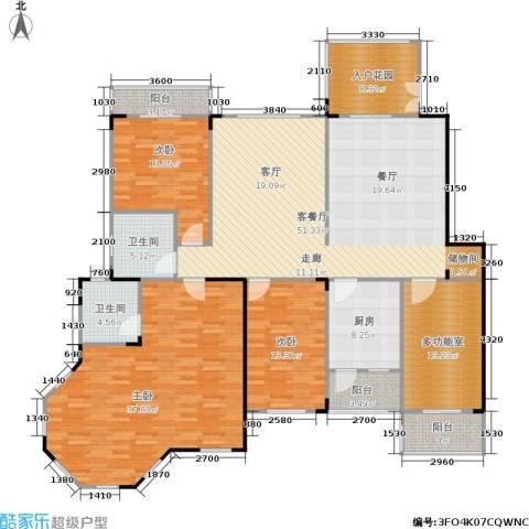南国明珠3室1厅2卫1厨192.00㎡户型图
