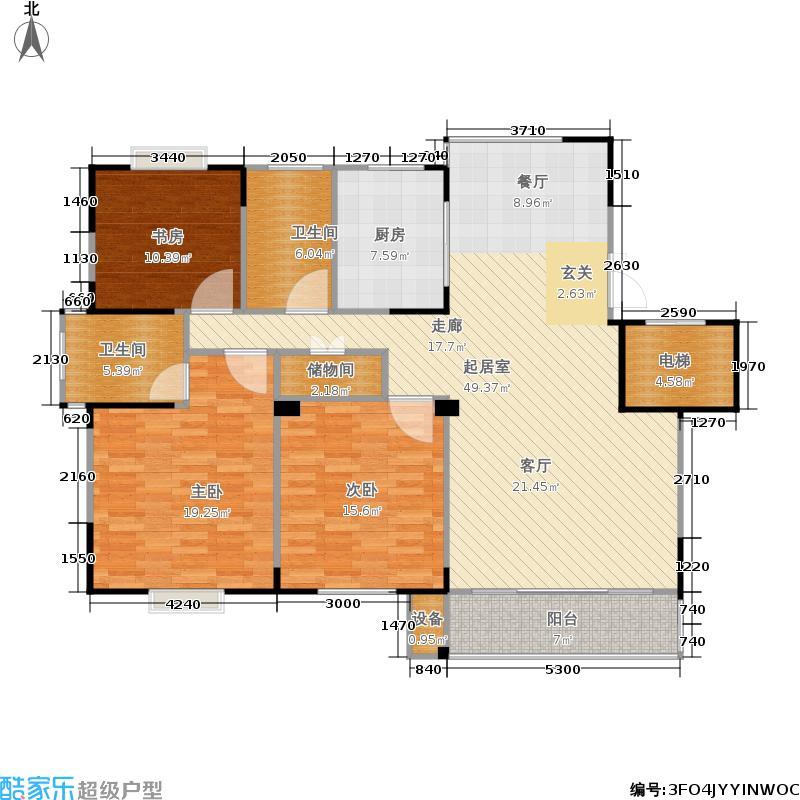 福基九龙新城138.00㎡一期30-32号楼标准层C3户型