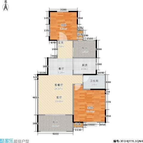 蓝湖西岸2室1厅1卫1厨77.00㎡户型图