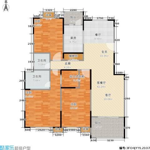 蓝湖西岸3室1厅2卫1厨137.00㎡户型图