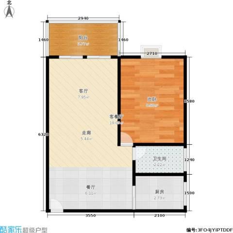 万方园1室1厅1卫1厨40.00㎡户型图
