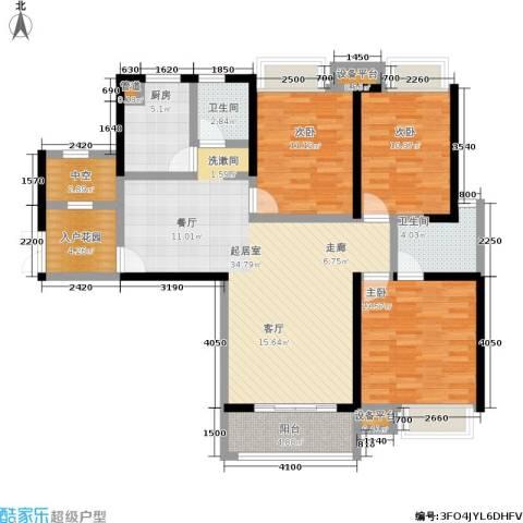 硚房翰林珑城3室0厅2卫1厨128.00㎡户型图