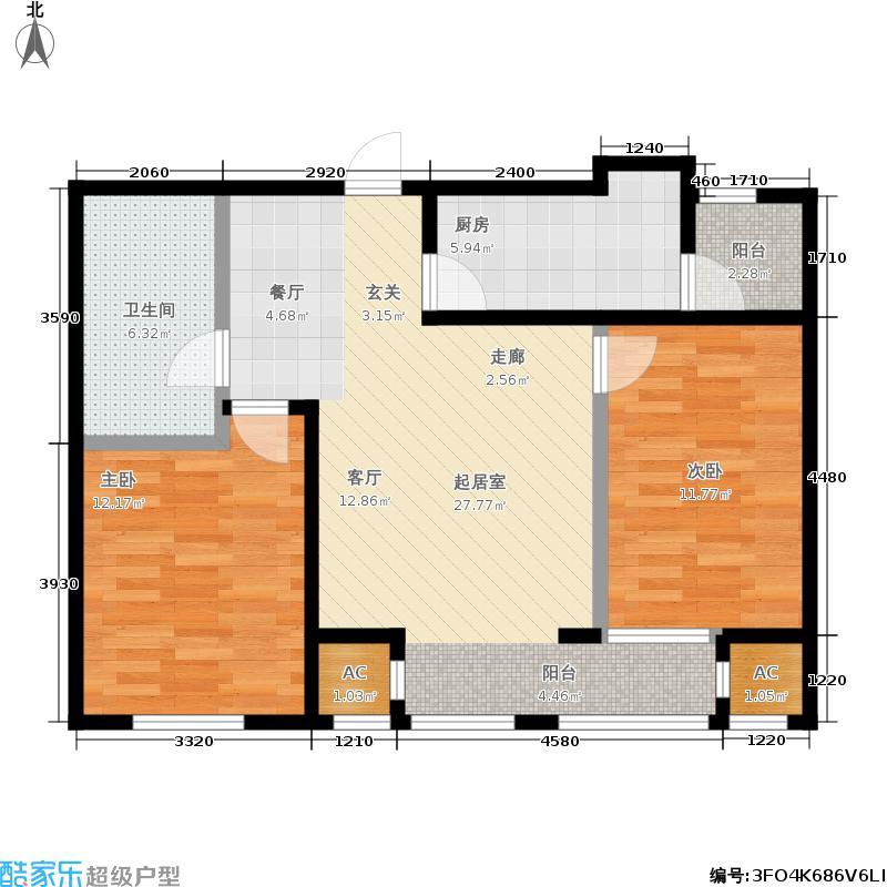 曲院风荷101.00㎡O户型两室两厅一卫户型2室2厅1卫