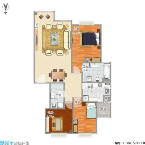 宣颐家园3室1厅2卫1厨120.00㎡户型图