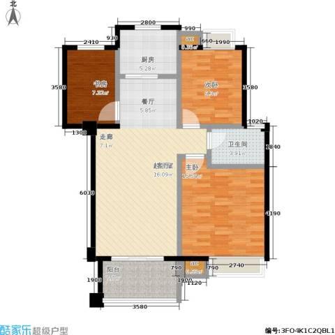 万达大湖公馆3室0厅1卫1厨110.00㎡户型图