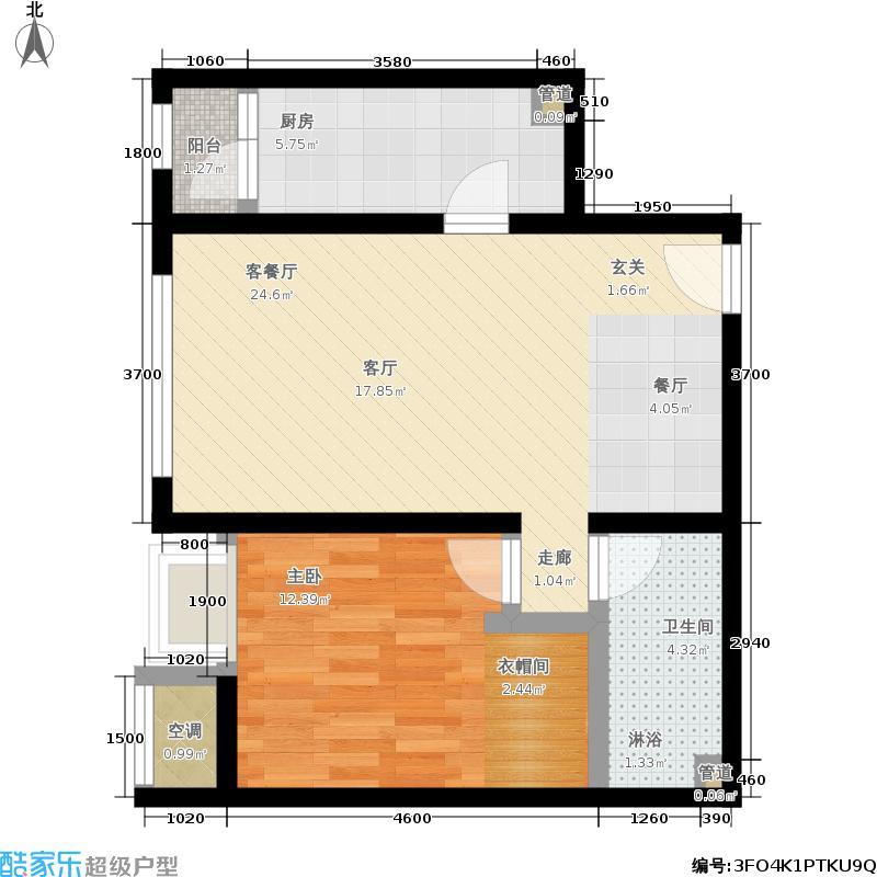 华业东方玫瑰67.00㎡C1-02户型1室1厅
