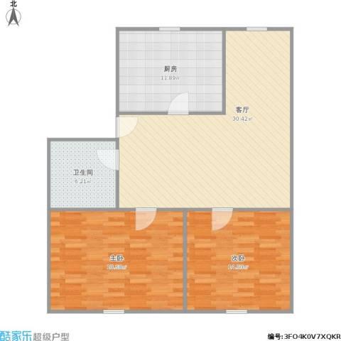 建设路16弄小区2室1厅1卫1厨108.00㎡户型图