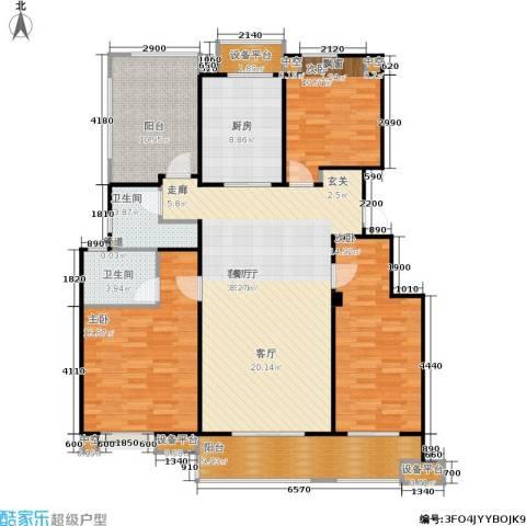 万科金色半山3室1厅2卫1厨130.00㎡户型图