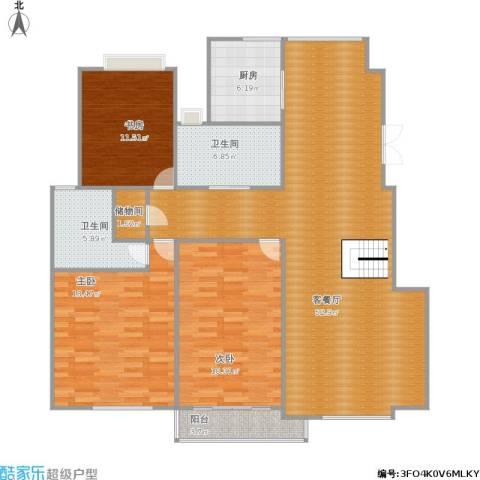 世纪名门3室1厅2卫1厨168.00㎡户型图