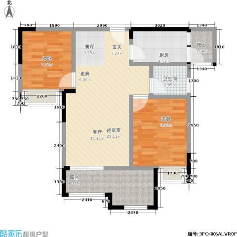 融创伊顿濠庭2室0厅1卫1厨65.00㎡户型图