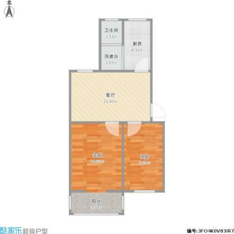 凤凰花园城2室1厅1卫1厨58.00㎡户型图