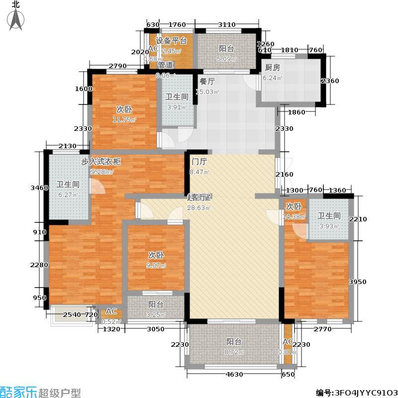宏图上水庭院180.00㎡二期8幢标准层G180户型