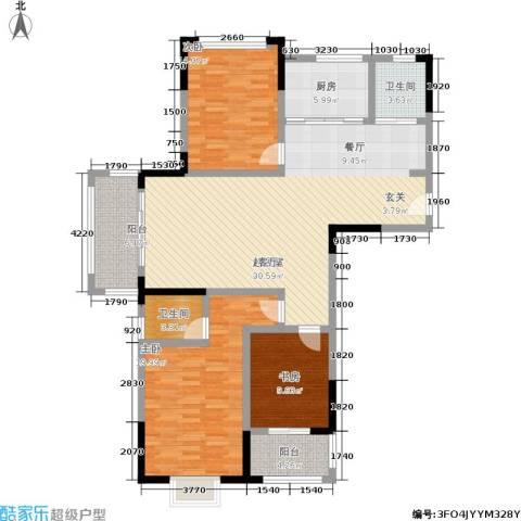 北宸新苑3室0厅2卫1厨127.00㎡户型图