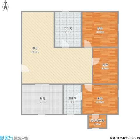 潼港二村3室1厅2卫1厨138.00㎡户型图
