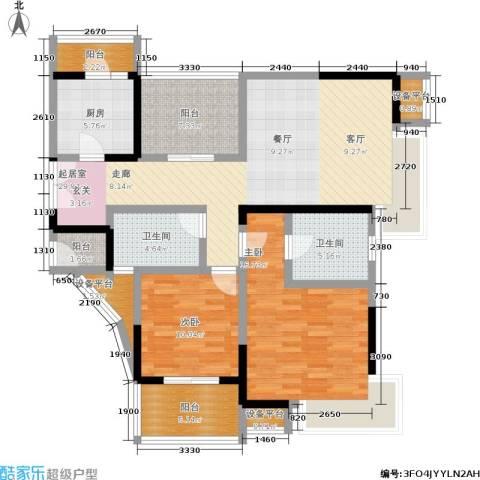 富力十号2室0厅2卫1厨110.00㎡户型图