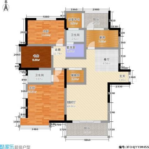 长江峰景3室1厅2卫1厨130.00㎡户型图