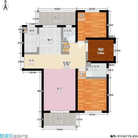 长江峰景3室1厅2卫1厨136.00㎡户型图