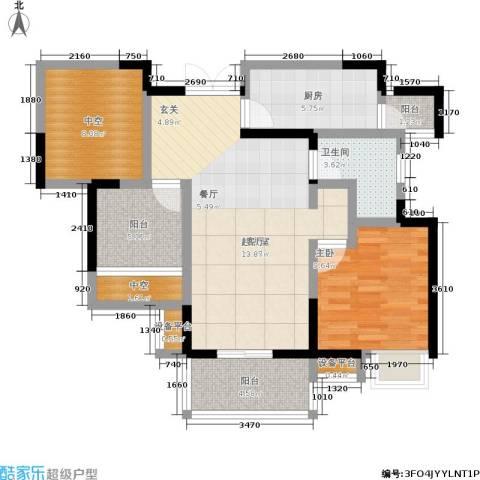 富力十号1室0厅1卫1厨78.00㎡户型图
