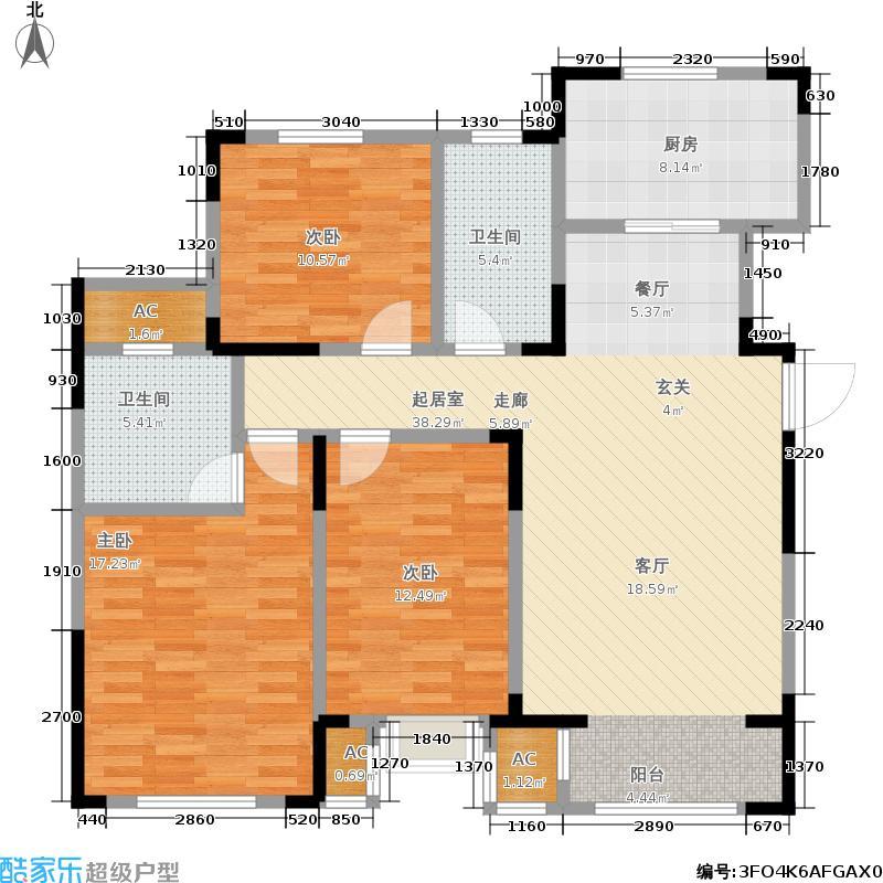 曲院风荷110.00㎡Z户型标准层户型3室2厅2卫