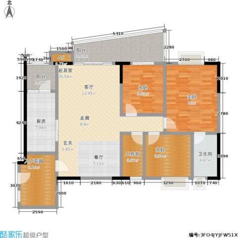 瑞安花园3室0厅1卫1厨124.00㎡户型图