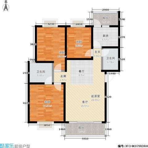 奔力乡间城3室0厅2卫1厨125.00㎡户型图