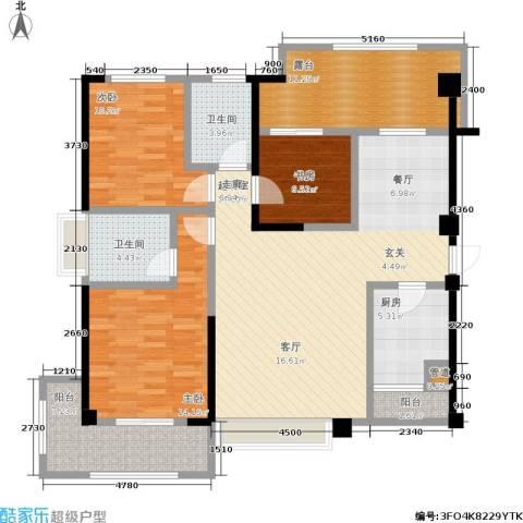 厦门禹洲高尔夫3室0厅2卫1厨144.00㎡户型图