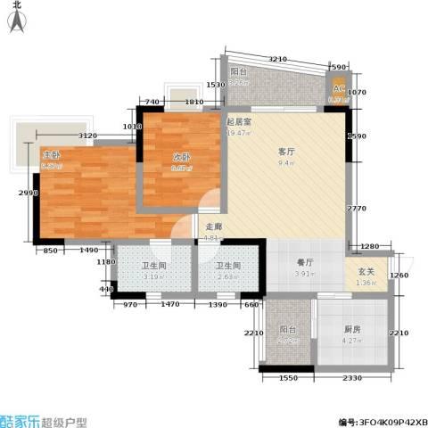 逸静丰豪2室0厅2卫1厨61.00㎡户型图