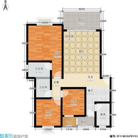 奔力乡间城3室0厅2卫1厨128.00㎡户型图