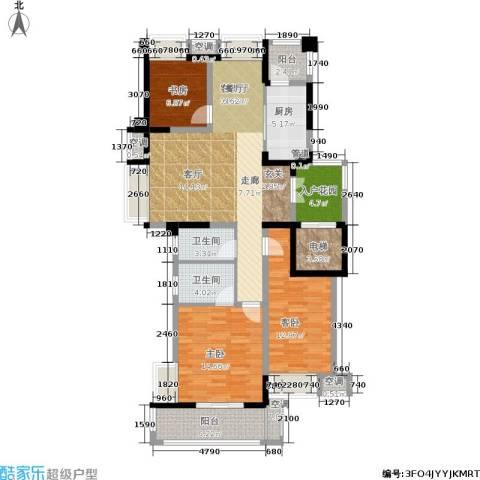 润开华府3室1厅2卫1厨124.00㎡户型图