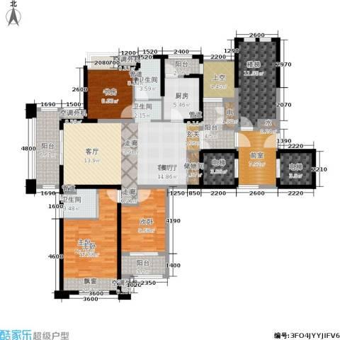 润开华府3室1厅2卫1厨135.45㎡户型图