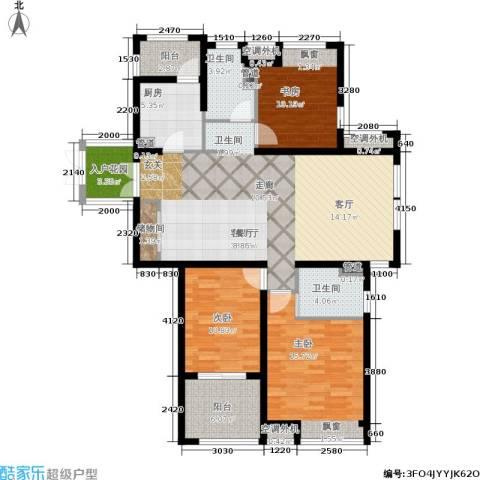 润开华府3室1厅2卫1厨120.00㎡户型图