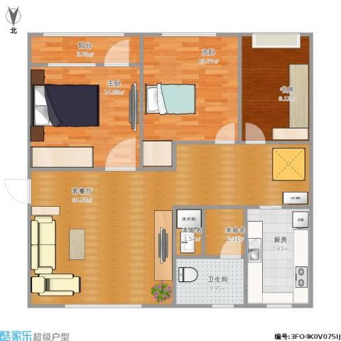 富海・城市印象3室1厅1卫1厨138.00㎡户型图