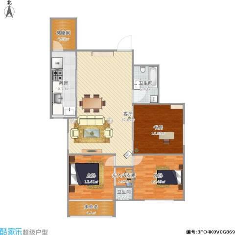 南洋大厦3室1厅2卫1厨141.00㎡户型图