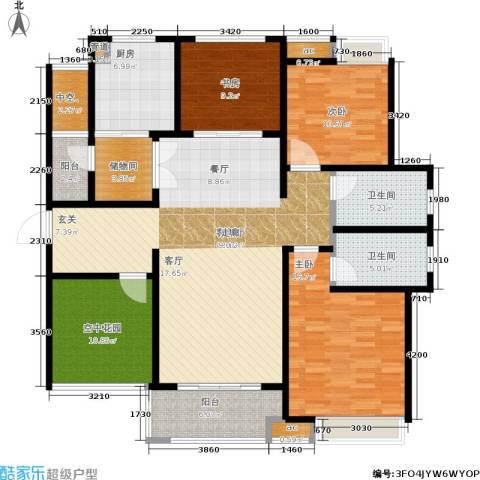 九龙仓时代上城年华里3室1厅2卫1厨140.00㎡户型图