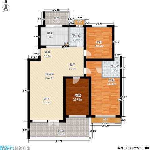 中惠晨曦怡庭3室0厅2卫1厨118.00㎡户型图