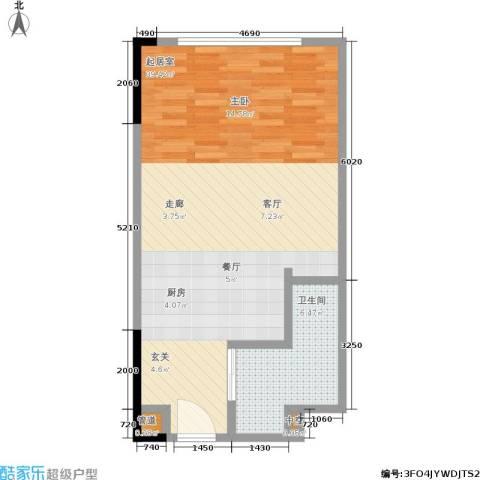 晋合公寓1卫0厨51.00㎡户型图