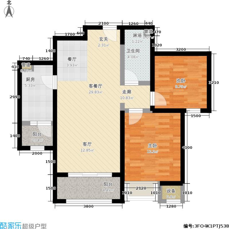 华业东方玫瑰88.00㎡C1-04户型2室2厅